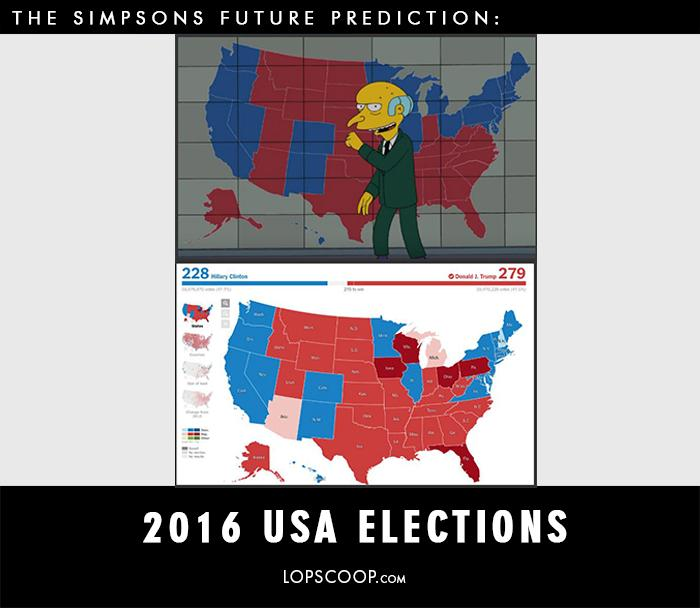 I Know Its Quite Weird But This Cartoon Really Tells The Future - Simpons Us Map Vs Real Voters Map